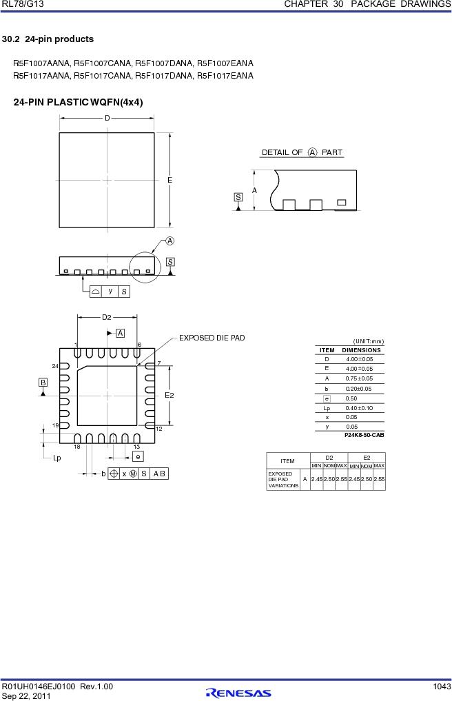 R5F100FCAFP#V0 ,Renesas Electronics America厂商,MCU 16BIT 32KB FLASH 44LQFP, R5F100FCAFP#V0 datasheet预览  第1062页
