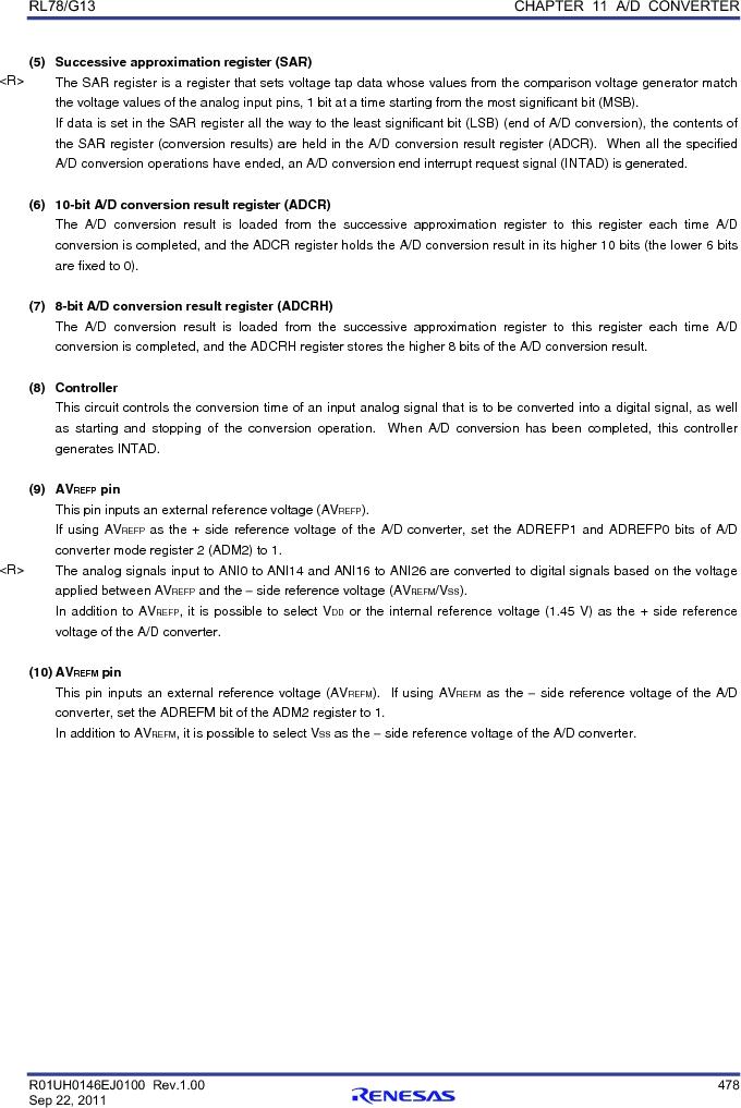 R5F100FCAFP#V0 ,Renesas Electronics America厂商,MCU 16BIT 32KB FLASH 44LQFP, R5F100FCAFP#V0 datasheet预览  第497页
