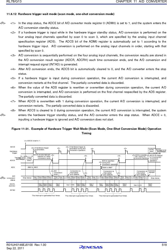 R5F100FCAFP#V0 ,Renesas Electronics America厂商,MCU 16BIT 32KB FLASH 44LQFP, R5F100FCAFP#V0 datasheet预览  第537页