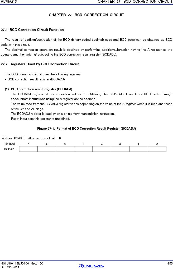 R5F100FCAFP#V0 ,Renesas Electronics America厂商,MCU 16BIT 32KB FLASH 44LQFP, R5F100FCAFP#V0 datasheet预览  第974页