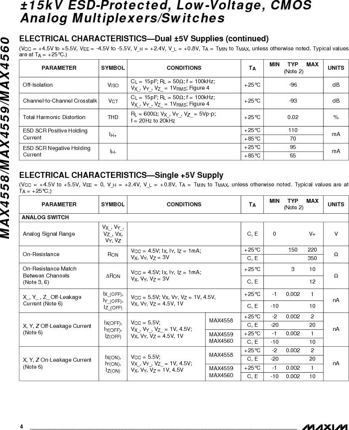 MAX4558EEE ,Maxim Integrated厂商,IC MULTIPLEXER 8X1 16QSOP, MAX4558EEE datasheet预览  第4页