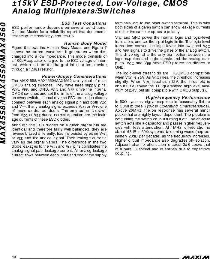 MAX4558EEE ,Maxim Integrated厂商,IC MULTIPLEXER 8X1 16QSOP, MAX4558EEE datasheet预览  第10页