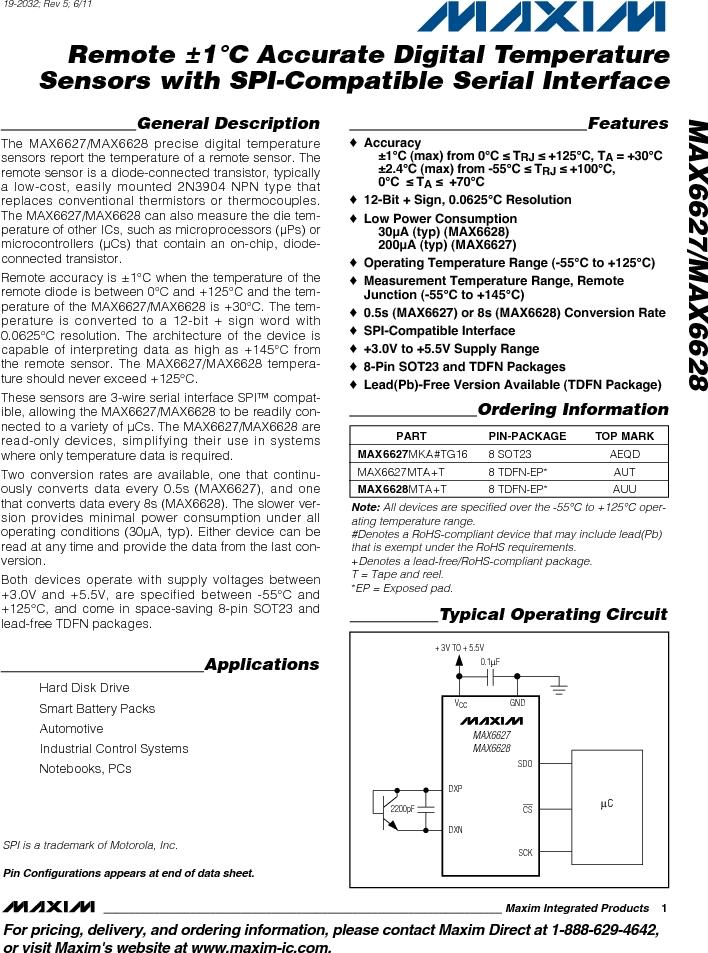 MAX6627MKA#TG16 ,Maxim Integrated厂商,IC TEMP SENSOR DGTL SOT23-8, MAX6627MKA#TG16 datasheet预览  第1页