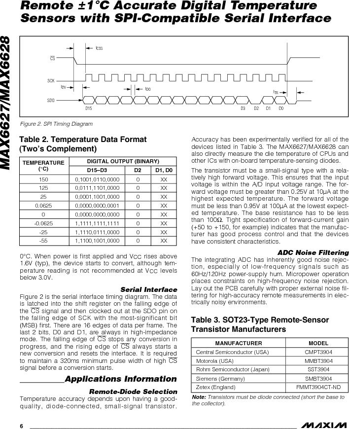 MAX6627MKA#TG16 ,Maxim Integrated厂商,IC TEMP SENSOR DGTL SOT23-8, MAX6627MKA#TG16 datasheet预览  第6页