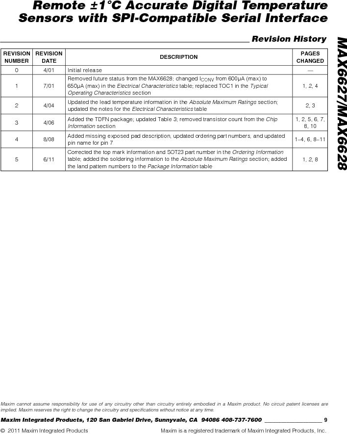 MAX6627MKA#TG16 ,Maxim Integrated厂商,IC TEMP SENSOR DGTL SOT23-8, MAX6627MKA#TG16 datasheet预览  第9页