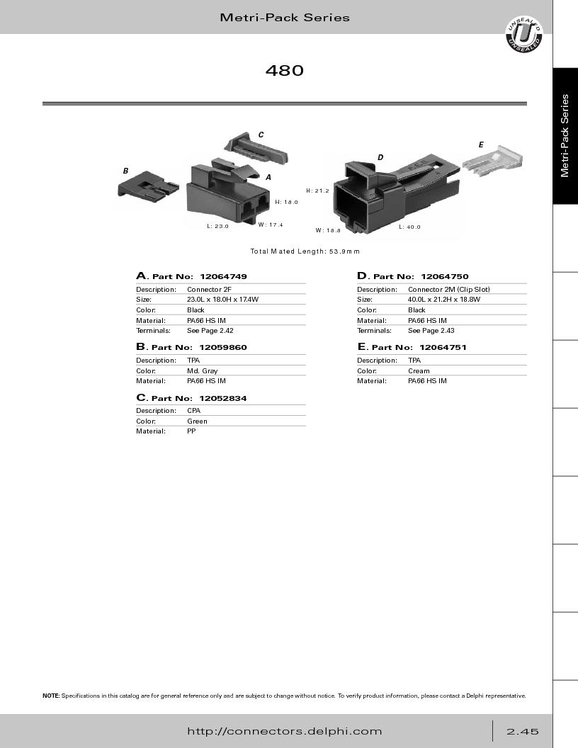 12014254 ,Delphi Connection Systems厂商,Automotive Connectors HAND CRIMPER, 12014254 datasheet预览  第101页