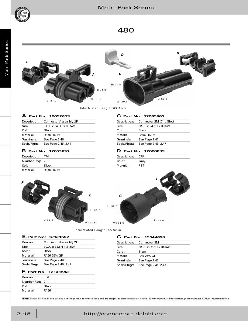 12014254 ,Delphi Connection Systems厂商,Automotive Connectors HAND CRIMPER, 12014254 datasheet预览  第104页