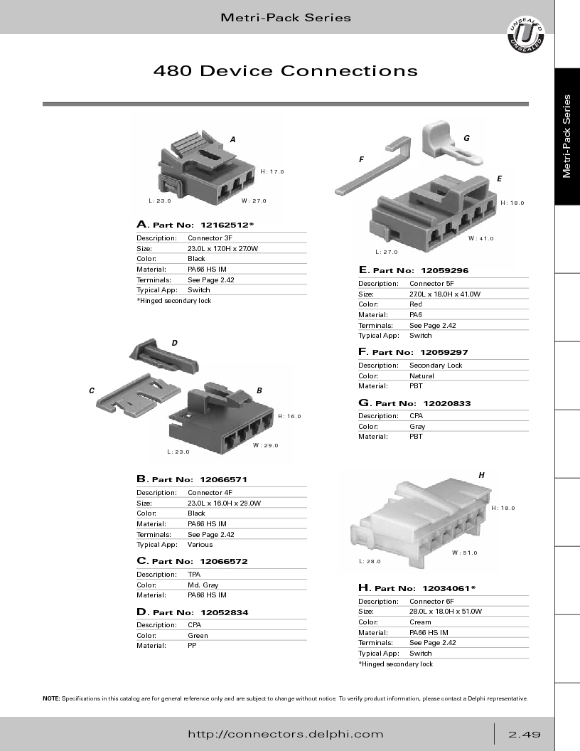12014254 ,Delphi Connection Systems厂商,Automotive Connectors HAND CRIMPER, 12014254 datasheet预览  第105页