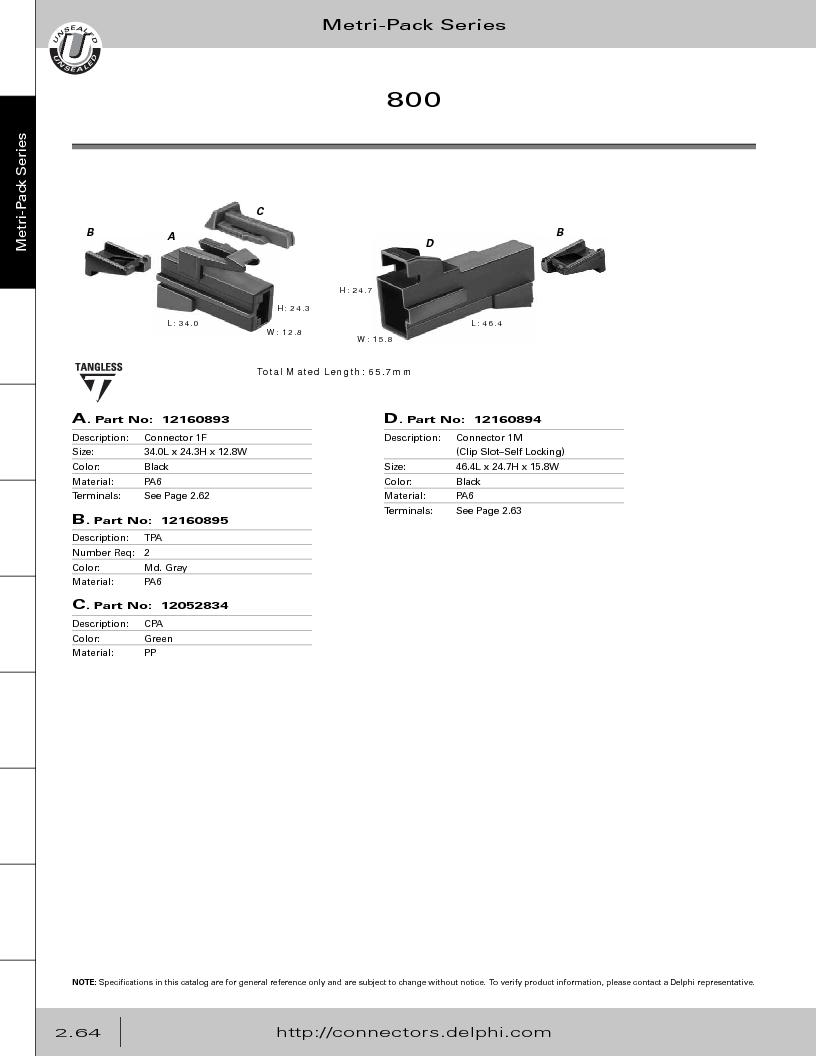 12014254 ,Delphi Connection Systems厂商,Automotive Connectors HAND CRIMPER, 12014254 datasheet预览  第120页
