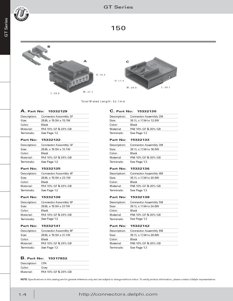 12014254 ,Delphi Connection Systems厂商,Automotive Connectors HAND CRIMPER, 12014254 datasheet预览  第16页