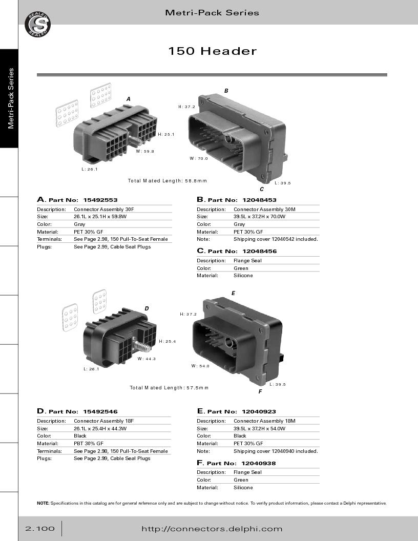 12014254 ,Delphi Connection Systems厂商,Automotive Connectors HAND CRIMPER, 12014254 datasheet预览  第156页