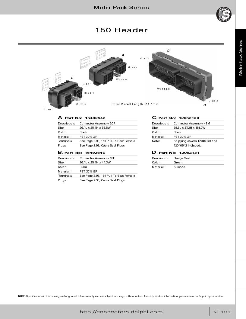 12014254 ,Delphi Connection Systems厂商,Automotive Connectors HAND CRIMPER, 12014254 datasheet预览  第157页
