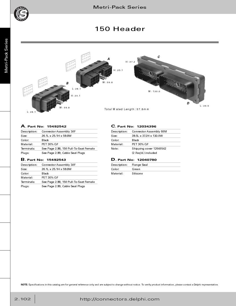 12014254 ,Delphi Connection Systems厂商,Automotive Connectors HAND CRIMPER, 12014254 datasheet预览  第158页
