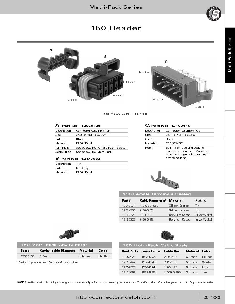 12014254 ,Delphi Connection Systems厂商,Automotive Connectors HAND CRIMPER, 12014254 datasheet预览  第159页