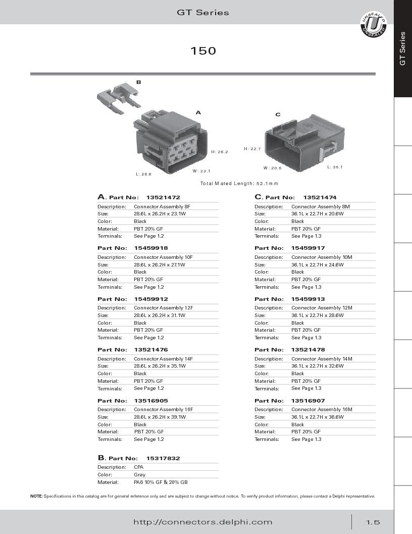 12014254 ,Delphi Connection Systems厂商,Automotive Connectors HAND CRIMPER, 12014254 datasheet预览  第17页