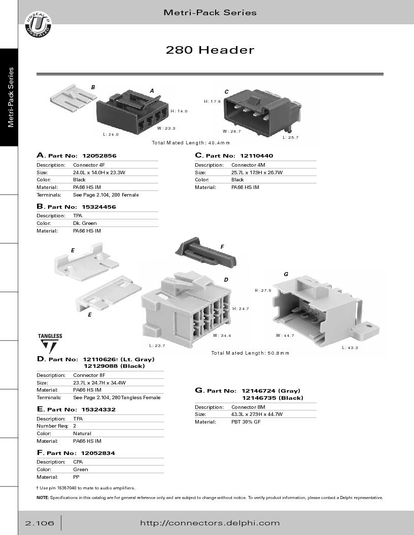 12014254 ,Delphi Connection Systems厂商,Automotive Connectors HAND CRIMPER, 12014254 datasheet预览  第162页