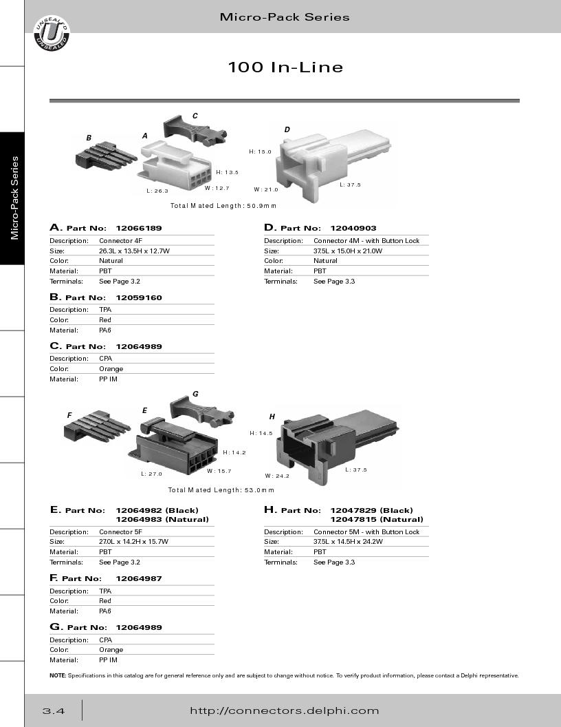 12014254 ,Delphi Connection Systems厂商,Automotive Connectors HAND CRIMPER, 12014254 datasheet预览  第166页