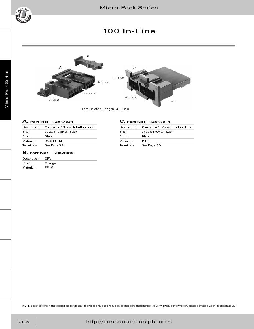 12014254 ,Delphi Connection Systems厂商,Automotive Connectors HAND CRIMPER, 12014254 datasheet预览  第168页