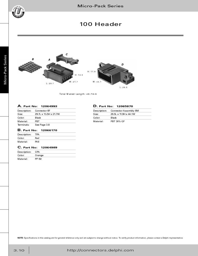 12014254 ,Delphi Connection Systems厂商,Automotive Connectors HAND CRIMPER, 12014254 datasheet预览  第172页