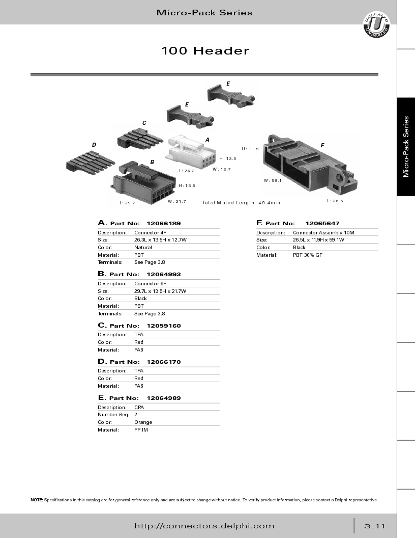12014254 ,Delphi Connection Systems厂商,Automotive Connectors HAND CRIMPER, 12014254 datasheet预览  第173页
