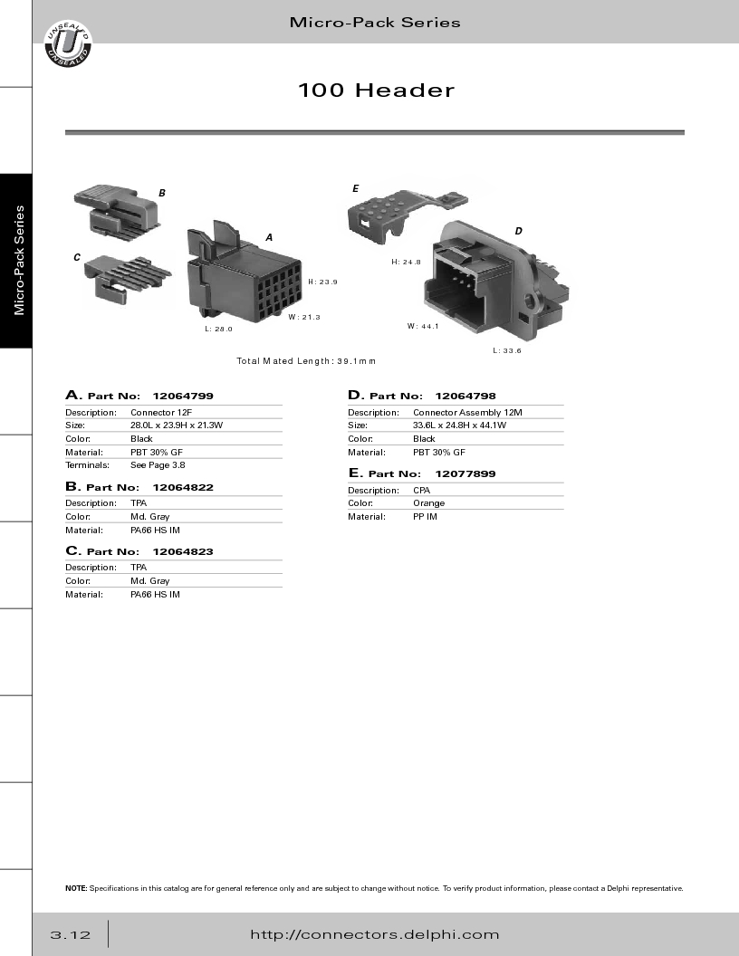 12014254 ,Delphi Connection Systems厂商,Automotive Connectors HAND CRIMPER, 12014254 datasheet预览  第174页