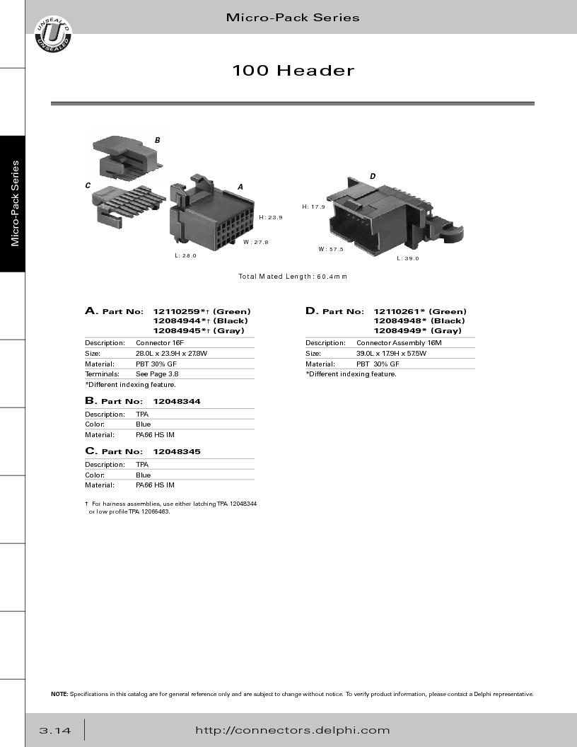 12014254 ,Delphi Connection Systems厂商,Automotive Connectors HAND CRIMPER, 12014254 datasheet预览  第176页
