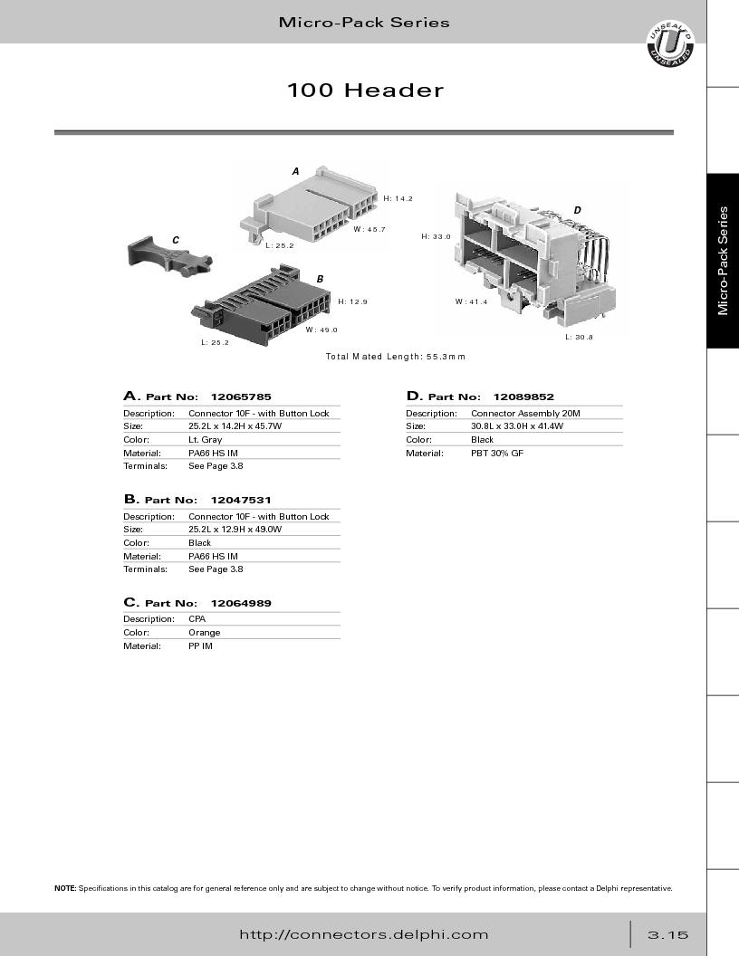 12014254 ,Delphi Connection Systems厂商,Automotive Connectors HAND CRIMPER, 12014254 datasheet预览  第177页
