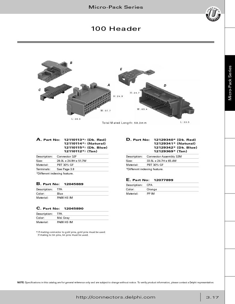 12014254 ,Delphi Connection Systems厂商,Automotive Connectors HAND CRIMPER, 12014254 datasheet预览  第179页