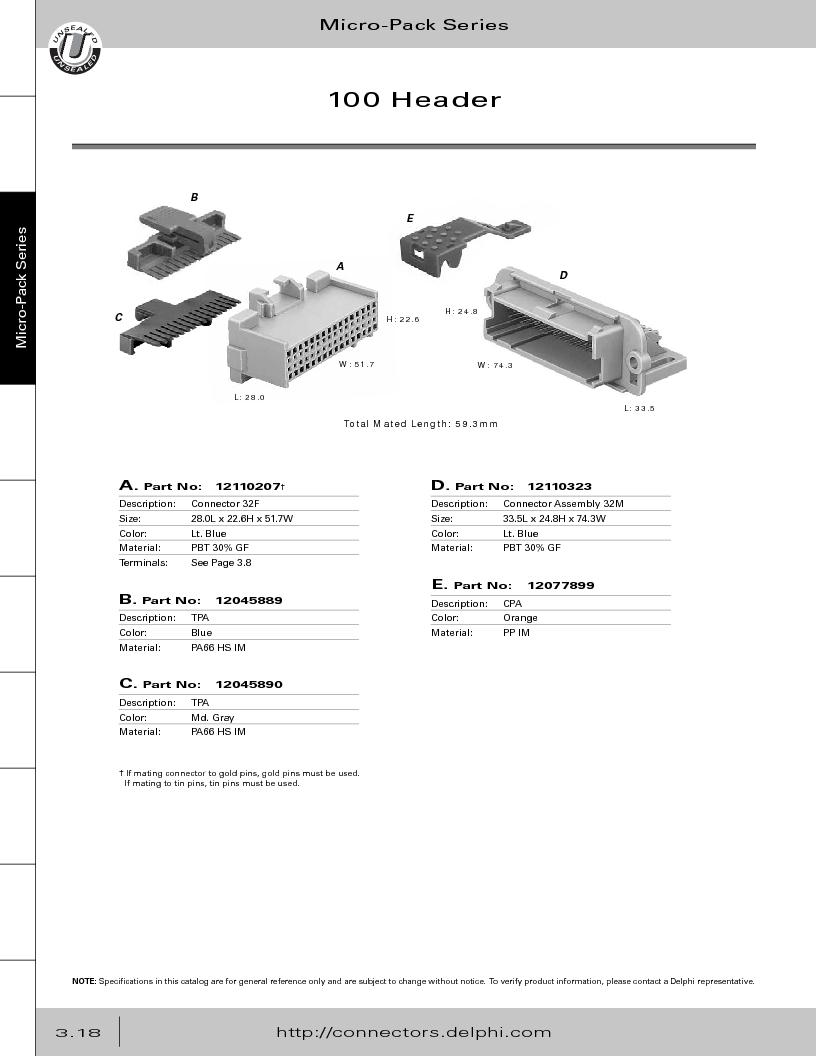 12014254 ,Delphi Connection Systems厂商,Automotive Connectors HAND CRIMPER, 12014254 datasheet预览  第180页