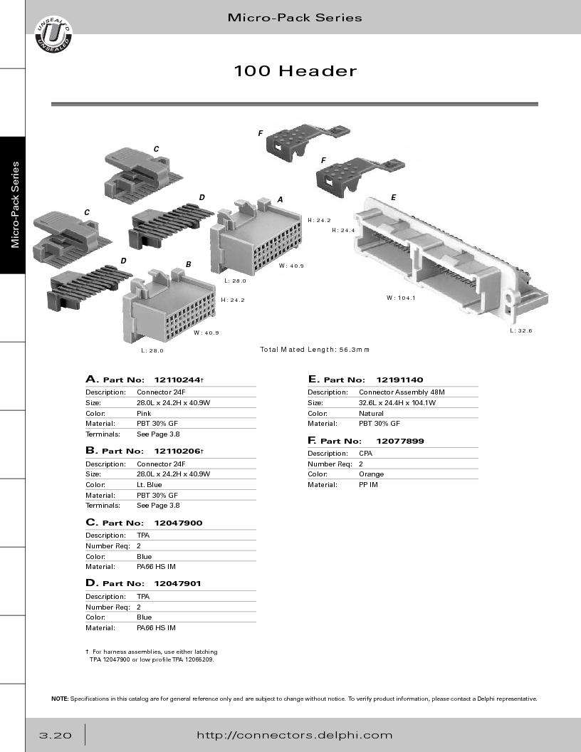 12014254 ,Delphi Connection Systems厂商,Automotive Connectors HAND CRIMPER, 12014254 datasheet预览  第182页