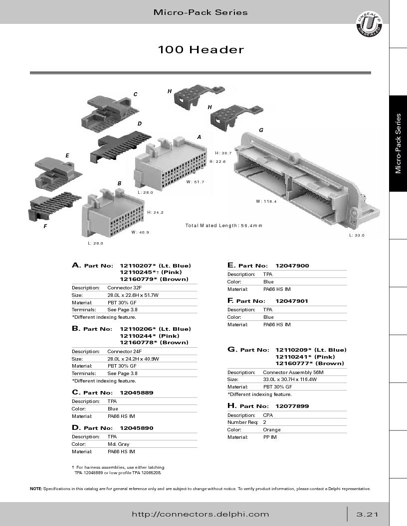 12014254 ,Delphi Connection Systems厂商,Automotive Connectors HAND CRIMPER, 12014254 datasheet预览  第183页