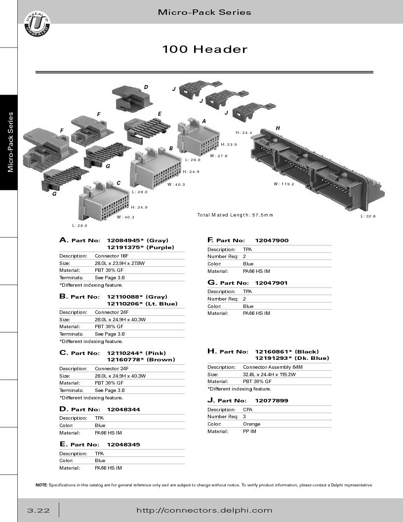 12014254 ,Delphi Connection Systems厂商,Automotive Connectors HAND CRIMPER, 12014254 datasheet预览  第184页