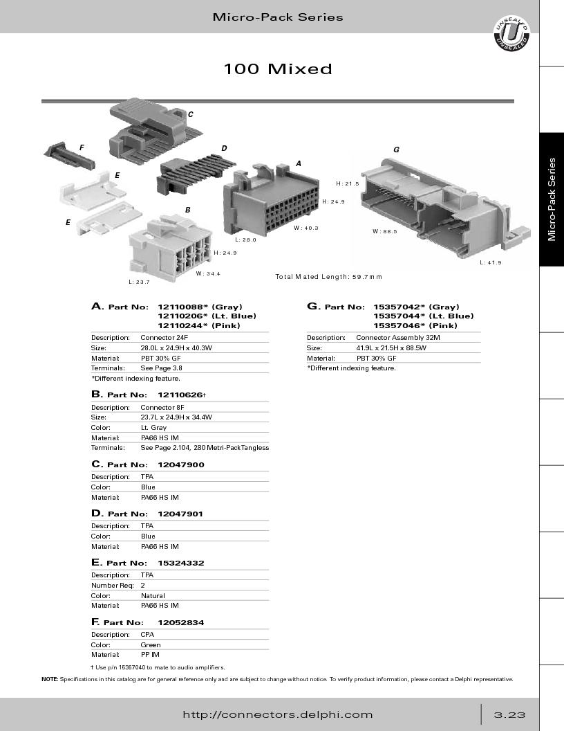 12014254 ,Delphi Connection Systems厂商,Automotive Connectors HAND CRIMPER, 12014254 datasheet预览  第185页