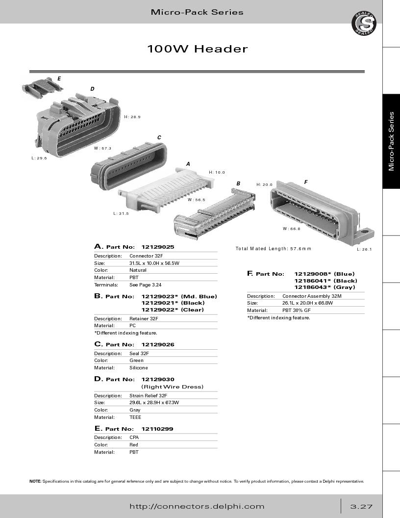 12014254 ,Delphi Connection Systems厂商,Automotive Connectors HAND CRIMPER, 12014254 datasheet预览  第189页