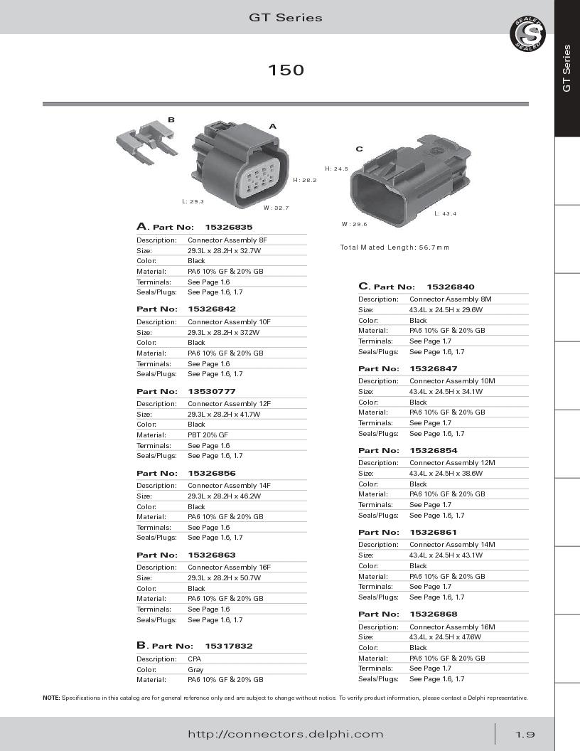 12014254 ,Delphi Connection Systems厂商,Automotive Connectors HAND CRIMPER, 12014254 datasheet预览  第21页