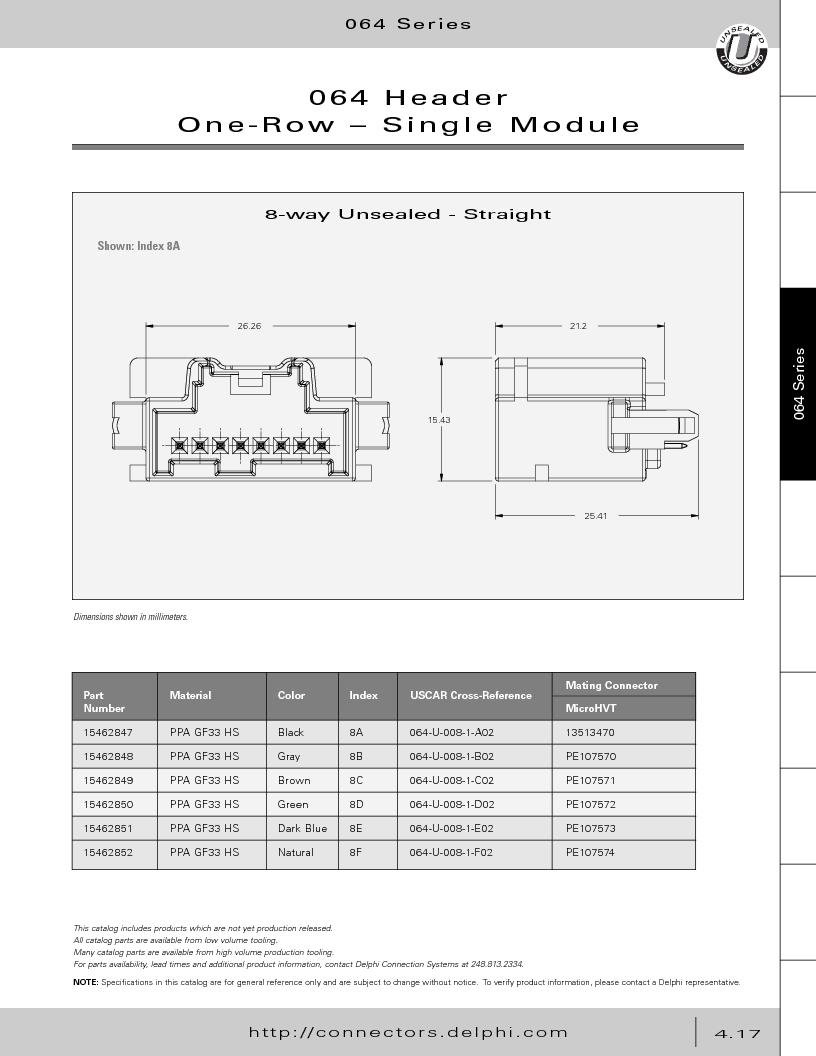 12014254 ,Delphi Connection Systems厂商,Automotive Connectors HAND CRIMPER, 12014254 datasheet预览  第207页