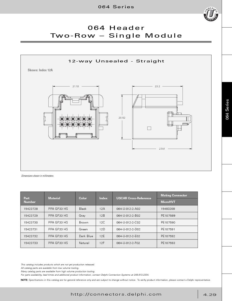 12014254 ,Delphi Connection Systems厂商,Automotive Connectors HAND CRIMPER, 12014254 datasheet预览  第219页