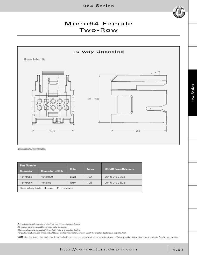 12014254 ,Delphi Connection Systems厂商,Automotive Connectors HAND CRIMPER, 12014254 datasheet预览  第251页