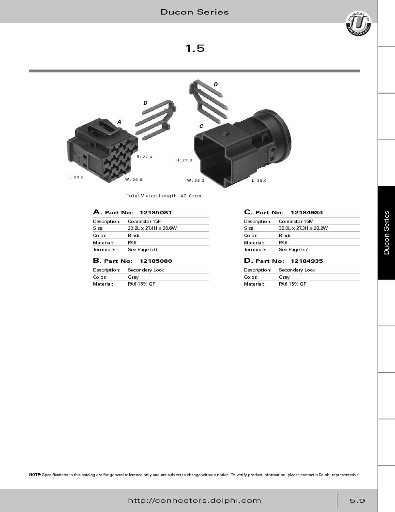 12014254 ,Delphi Connection Systems厂商,Automotive Connectors HAND CRIMPER, 12014254 datasheet预览  第263页