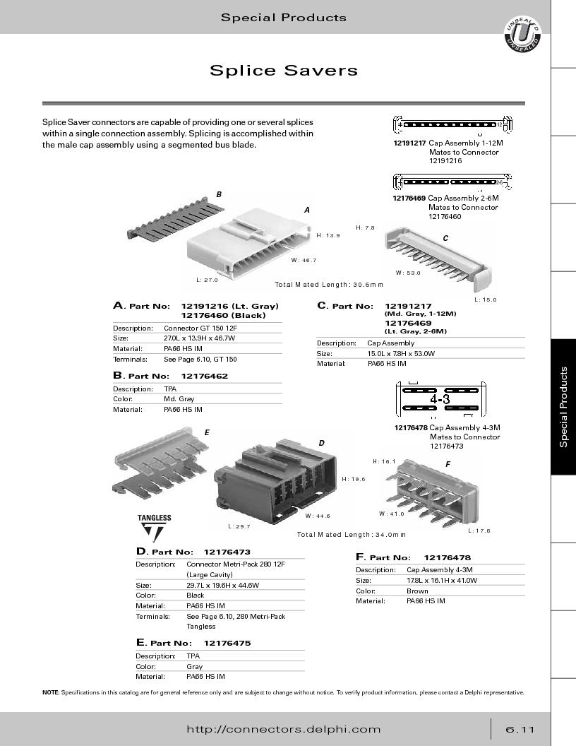 12014254 ,Delphi Connection Systems厂商,Automotive Connectors HAND CRIMPER, 12014254 datasheet预览  第293页