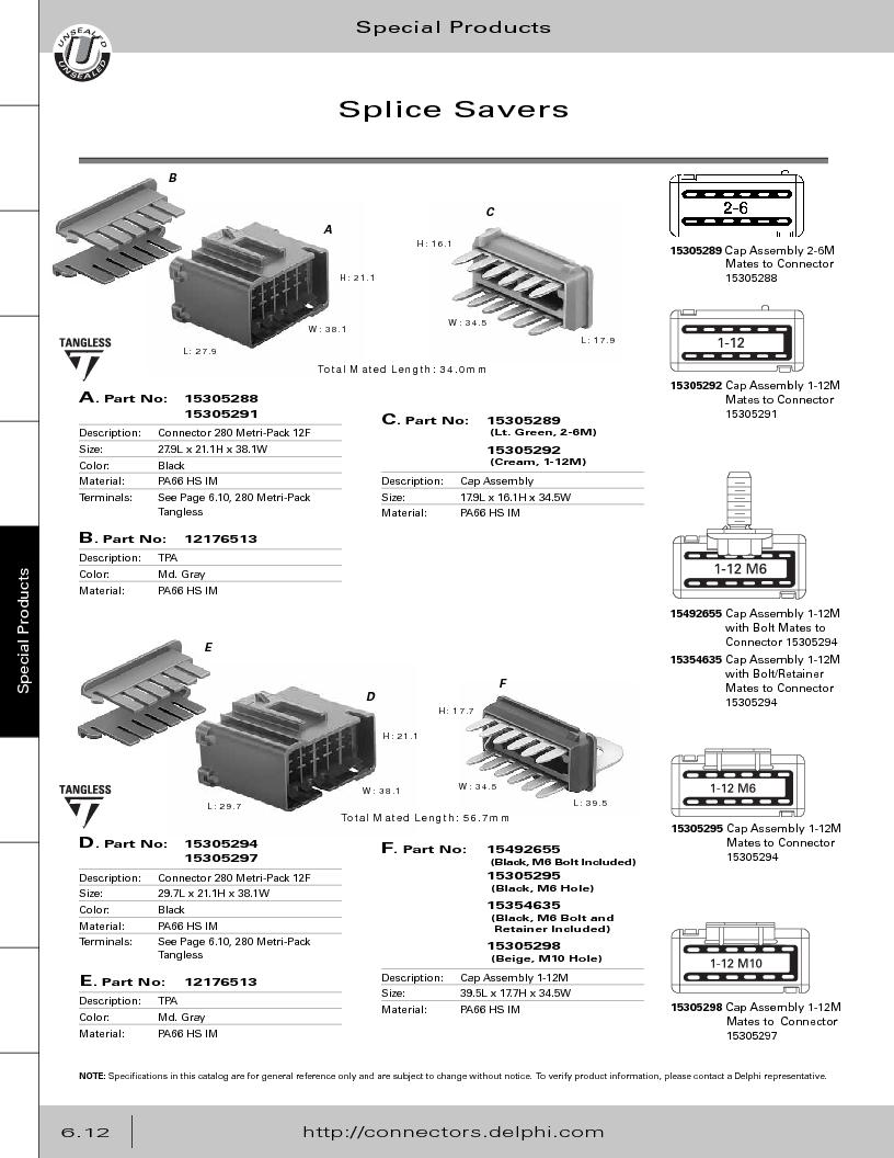 12014254 ,Delphi Connection Systems厂商,Automotive Connectors HAND CRIMPER, 12014254 datasheet预览  第294页