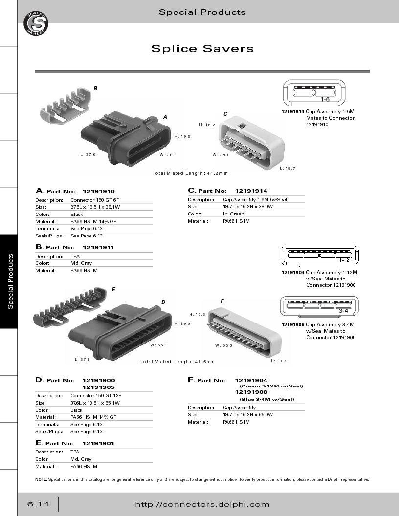 12014254 ,Delphi Connection Systems厂商,Automotive Connectors HAND CRIMPER, 12014254 datasheet预览  第296页