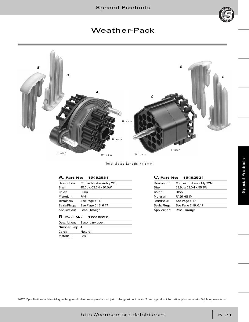 12014254 ,Delphi Connection Systems厂商,Automotive Connectors HAND CRIMPER, 12014254 datasheet预览  第303页