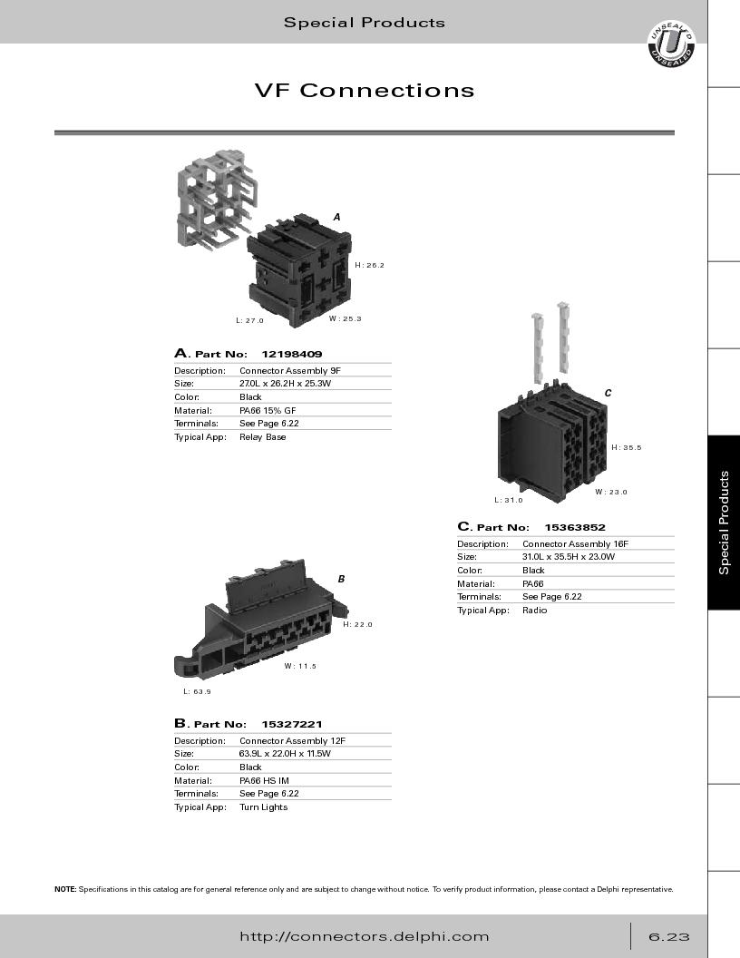 12014254 ,Delphi Connection Systems厂商,Automotive Connectors HAND CRIMPER, 12014254 datasheet预览  第305页