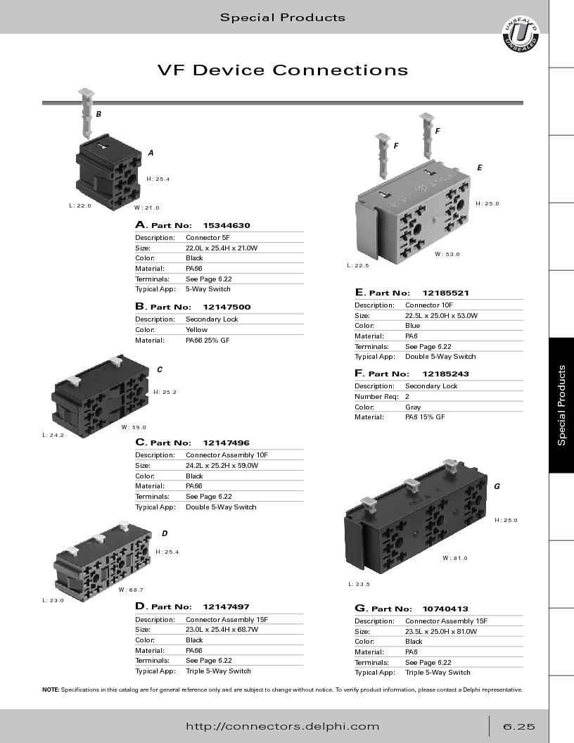 12014254 ,Delphi Connection Systems厂商,Automotive Connectors HAND CRIMPER, 12014254 datasheet预览  第307页
