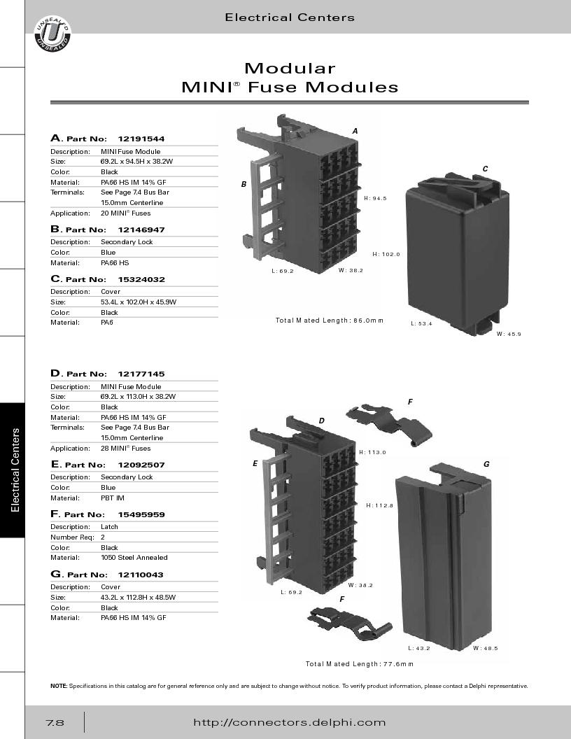 12014254 ,Delphi Connection Systems厂商,Automotive Connectors HAND CRIMPER, 12014254 datasheet预览  第318页