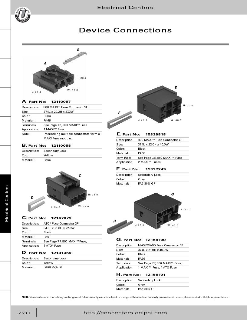 12014254 ,Delphi Connection Systems厂商,Automotive Connectors HAND CRIMPER, 12014254 datasheet预览  第338页