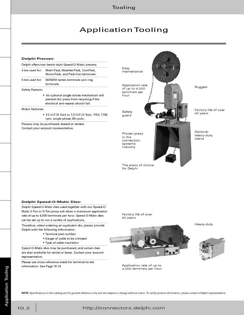 12014254 ,Delphi Connection Systems厂商,Automotive Connectors HAND CRIMPER, 12014254 datasheet预览  第374页