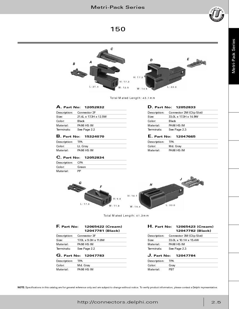 12014254 ,Delphi Connection Systems厂商,Automotive Connectors HAND CRIMPER, 12014254 datasheet预览  第61页