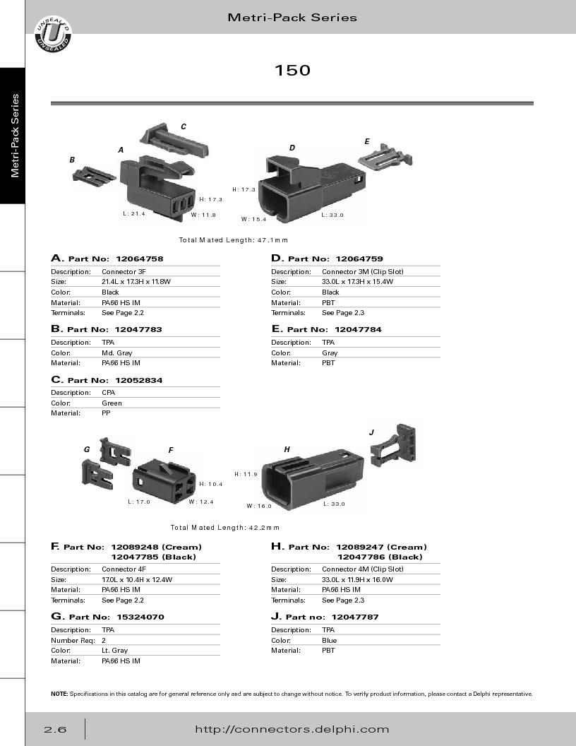 12014254 ,Delphi Connection Systems厂商,Automotive Connectors HAND CRIMPER, 12014254 datasheet预览  第62页